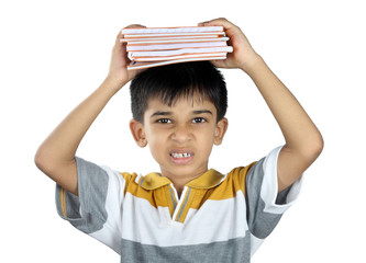 Indian School Boy with Textbook