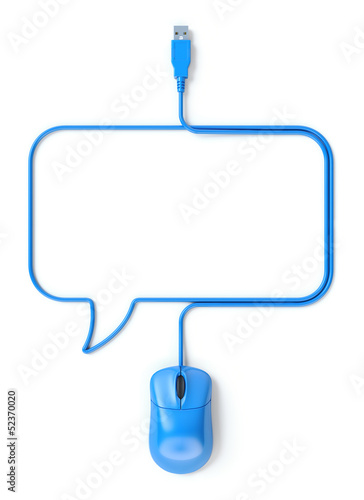 Blue mouse and cable in the shape of speech bubble