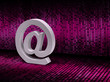 E-mail @ sign on pixel graphic background