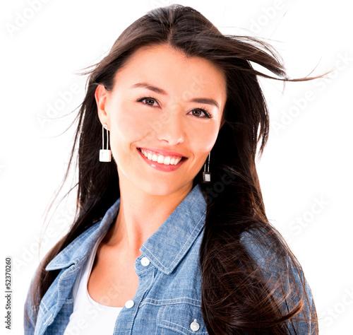 Beautiful woman with windy hair