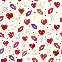 Love seamless pattern with hearts and lips.