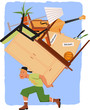 Mover with a pile of furniture