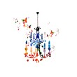 Colorful vector chandelier background with butterflies