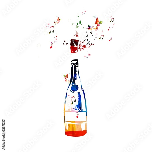 Colorful vector bottle background with butterflies