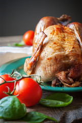 Baked Whole Chicken with fresh tomatoes, close up