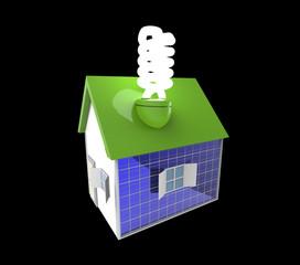 Casa con bombilla bajo consumo
