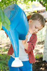 Young boy emptying a watering can