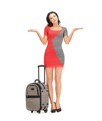 doubting woman with suitcase