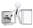 3d white man with coffee machine and checklist
