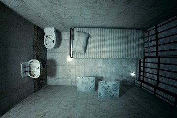 Prison cell.