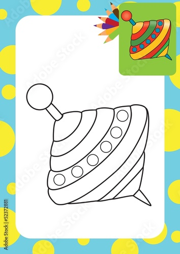 Humming-top, whirligig. Coloring page