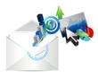 email business graph set design illustration