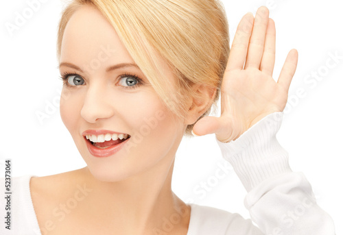 happy woman listening gossip