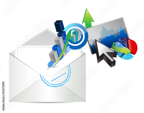 email business graph set design illustration