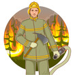 Firefighter with a fire hose and axe against a fire, eps10