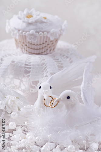 White doves with rings