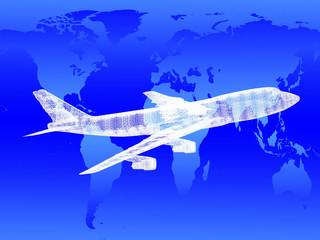 model of jet airplane on worldmap. Concept - global travel.