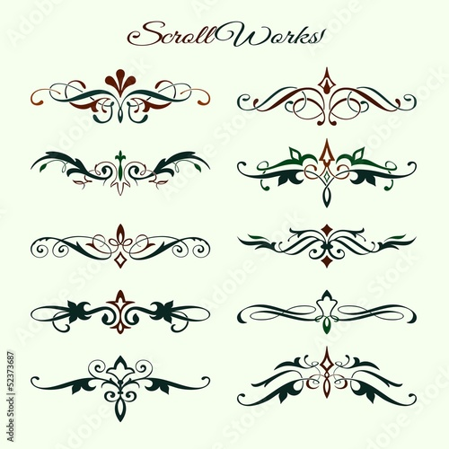 Scroll works Design, Ornamental decorative Elements