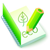 Vector green eco book with pencil