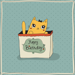 Beautiful happy birthday greeting card with cat
