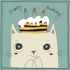 Beautiful happy birthday greeting card with cat and cake