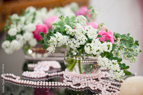 Wedding flowers - tables set for wedding day