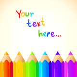 Colored pencils bright colorful set background