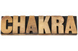 chakra word in wood type