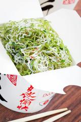 Shirataki noodles in spicy sauce, selective focus