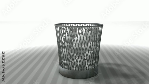 Trash bin animation with matte.