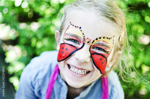 Young girl with face painting