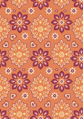 orange bandana seamless vector background