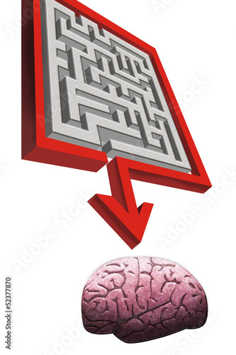 Arrow pointing to brain.