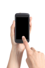 Woman hands touching a mobile phone screen