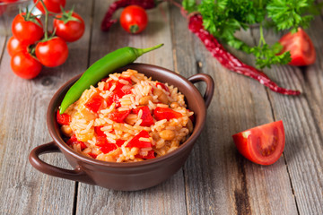 Rice with sweet pepper and onion