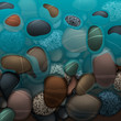 Sea water and pebbles stones, vector Eps10 illustration.