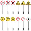 vector illustration of collection of traffic signpost