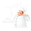 vector illustration of chef cooking in kitchen