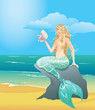 Illustration of a Beautiful mermaid girl with sea shell sitting