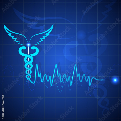 vector illustration of medical bckground with caduceus symbol