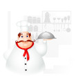 vector illustration of chef holding cloche in kitchen