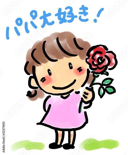 バラの花を持つ女の子