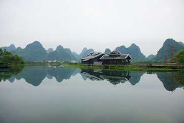 Guilin scenic river and hills.