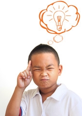 The Asian boy thinking in classroom