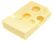 Piece of Emmentaler on white