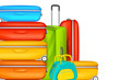 vector illustration of colorful suitcase in travel background
