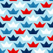 Seamless Pattern Paperboats & Waves