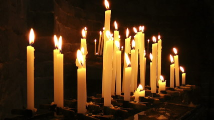 Burning candles in Saint Peter Church, Portovenere