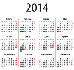 Spanish Calendar for 2014. Mondays first