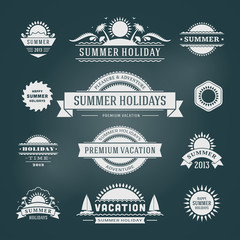 Retro summer design elements. Vector illustration.